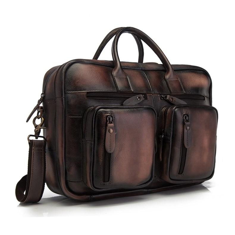 10396920134 2068518898 Men Oil Waxy Leather Antique Design Business Travel Briefcase Laptop Bag Fashion Attache Messenger Bag Tote Portfolio Male k1013