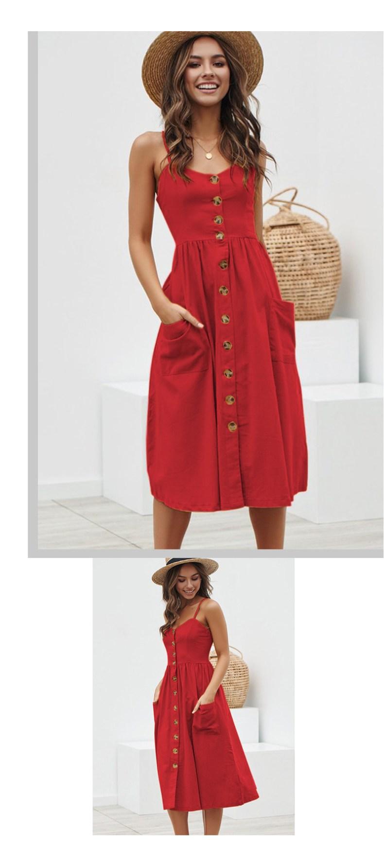 10648434635 1685006654 Women Summer Dress 2019 Boho Sexy Spaghetti Straps Floral Beach Dress With Pocket Midi Button Backless Sundress Female Vestidos