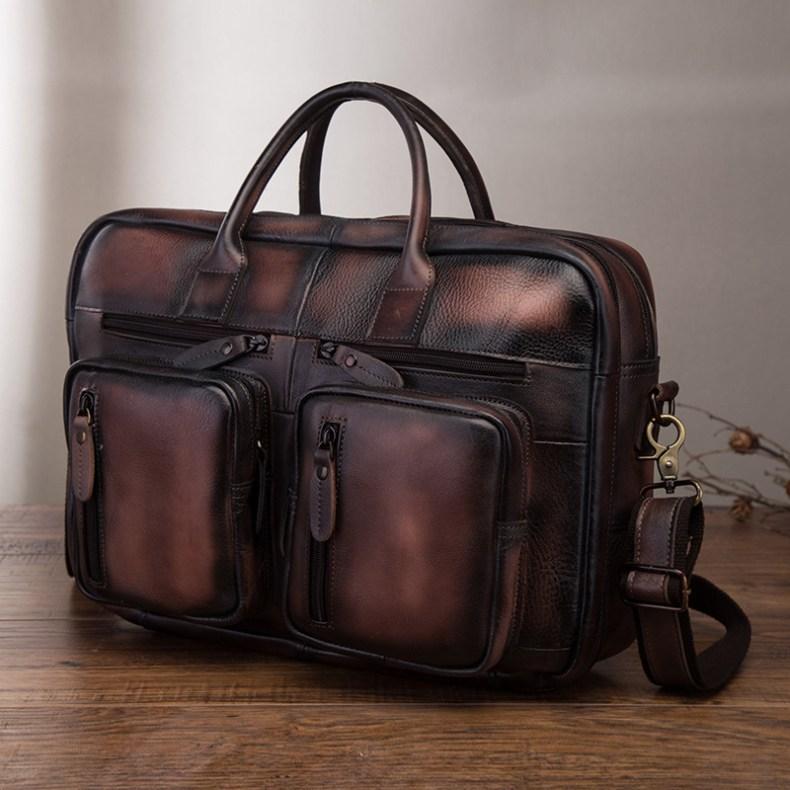 10449290759 2068518898 Men Oil Waxy Leather Antique Design Business Travel Briefcase Laptop Bag Fashion Attache Messenger Bag Tote Portfolio Male k1013