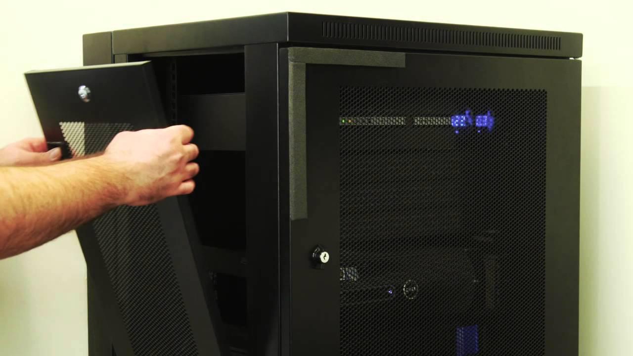 tripp lite 12u wall mount rack enclosure server cabinet swinging hinged door deep rack 12u