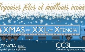 Illustration pour les vœux de la suite logicielle pour la logistique XTENCIA et son éditeur CC3i.