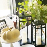 Affordable Fall Front Porch And Tabletop Decor Ideas Black Lanterns On A Dining Room Table With A White Cake Stand And A Pumpkin Cc Mike