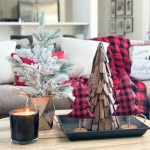 Affordable Buffalo Plaid Holiday Pillows And Decor Buffalo Plaid Pillows And Tabletop Christmas Trees On A Round Wood Coffee Table Cc Mike