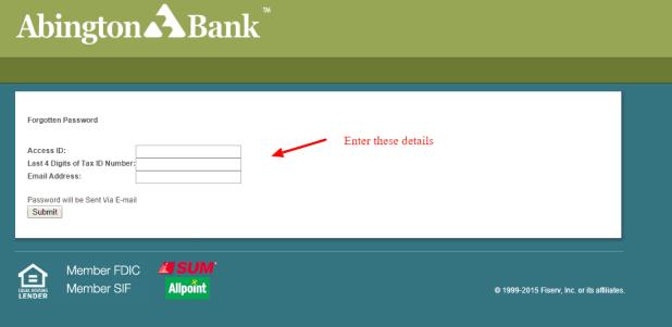 Retrieve Password Abington Bank Internet Banking