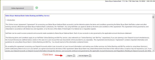 Baker Boyer National Bank Online Agreement