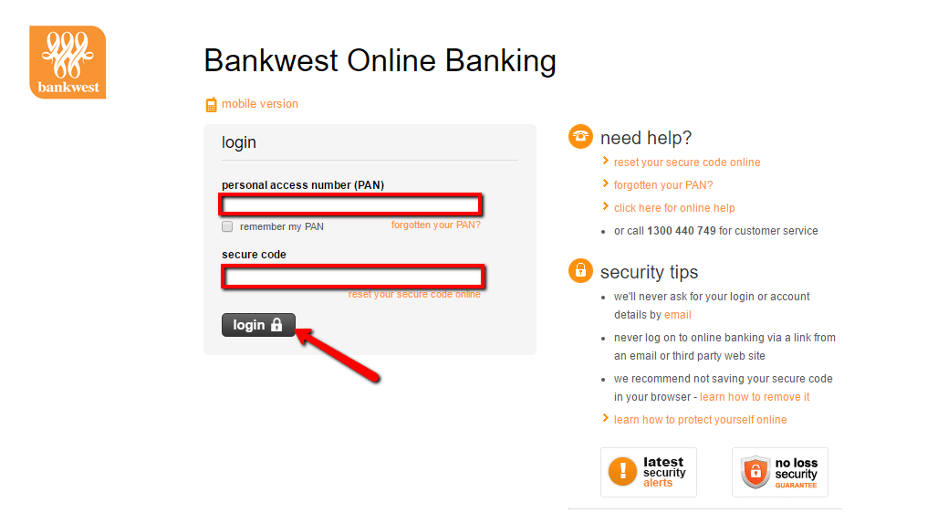 Bankwest Online Personal Banking