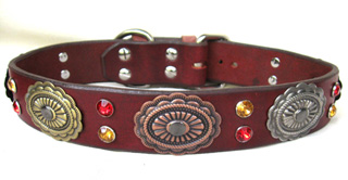 Leather Dog Collars by CCC - Hidalgo Designer Collection Scallop Oval 1.50