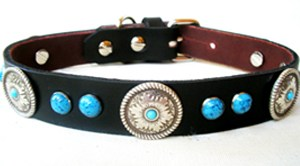 CCC Western Leather Dog Collars - Turquoise Concho