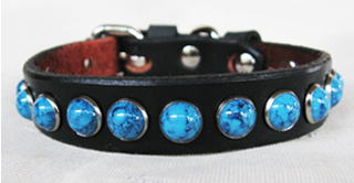 CCC Western Leather Dog Collars - Turquoise Delight