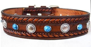 Leather Dog Collars at CCC - Dakota Dawg Designer Collection w-Bezels