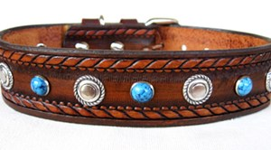 CCC Western Leather Dog Collars - Dakota Bezels