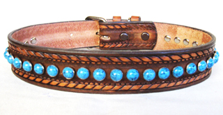 CCC Western Leather Dog Collars - Turquoise