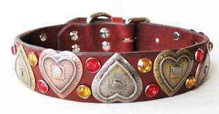 CCC Western Leather Dog Collars - Hidalgo Heart