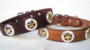 CCC Western Leather Dog Collars - Shiny Deputy Dawg