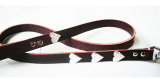 CCC Western Leather Dog Collars - Sweetheart Leather Dog Leash