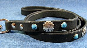 CCC Western Leather Dog Collars - Zorro Leather Dog Leash
