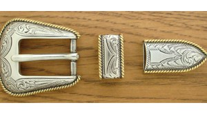 CCC Western Leather Dog Collars - silver-gold buckle set