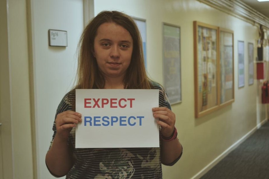 Claire Richardson makes her pledge to Expect Respect.