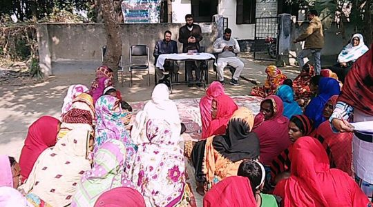 """Court Yard Meeting on """"Methods of Birth Control and Reproductive Health"""" held at Tetulia Village"""