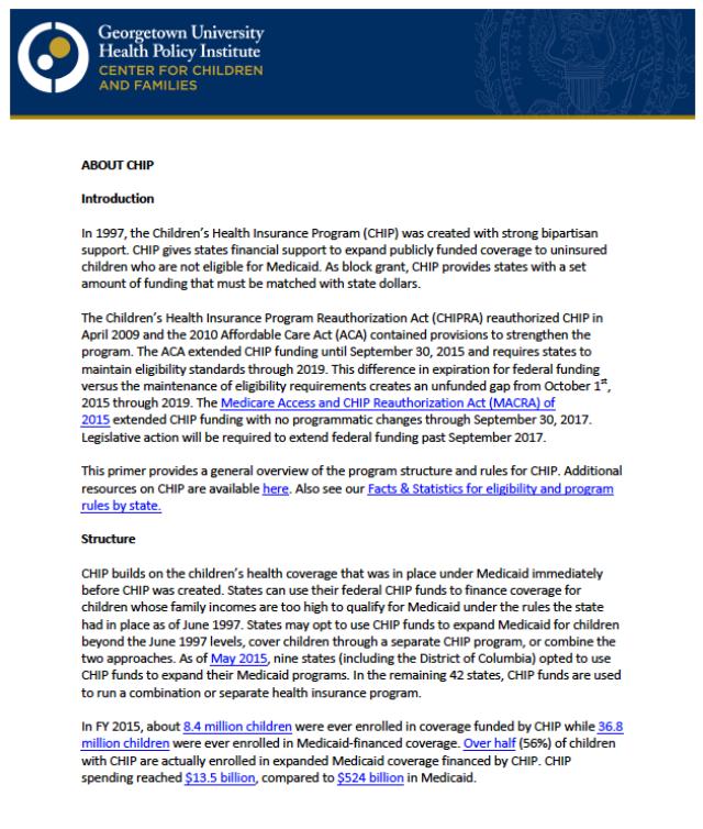 The Children's Health Insurance Program – Center For