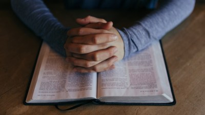 Praying Hands Bible Religious Stock Photo