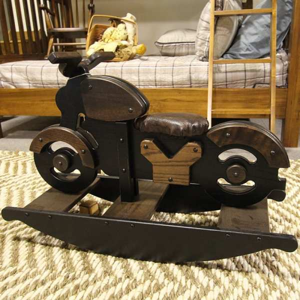 Children's wooden rocking motorcycle