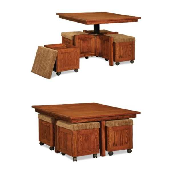 Five Piece Square Table Bench Set With Storage Benches