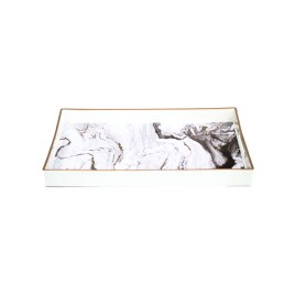 White Marbled Rectangular Tray (L)