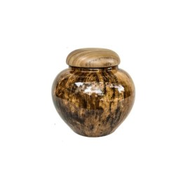 Brown Ceramic Canister with Wooden Lid