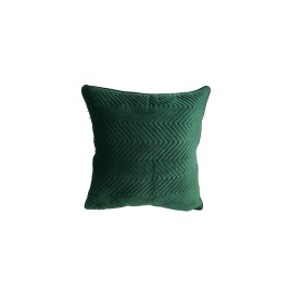 English Green Velvet Zigzag Textured Pillow