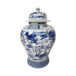 Blue & White Ginger Jar with Lid