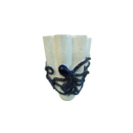White Curves Vase Blue Octopus L