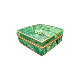 Jewelry Ceramic box w/ Malachite Motif (Green)