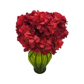 Red Hydrangea Bouquet in Greent glass vase