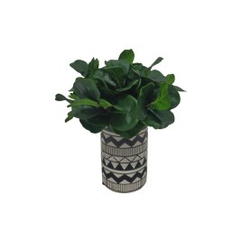Philodendron Artificial Plant in Black & White Ceramic Vase