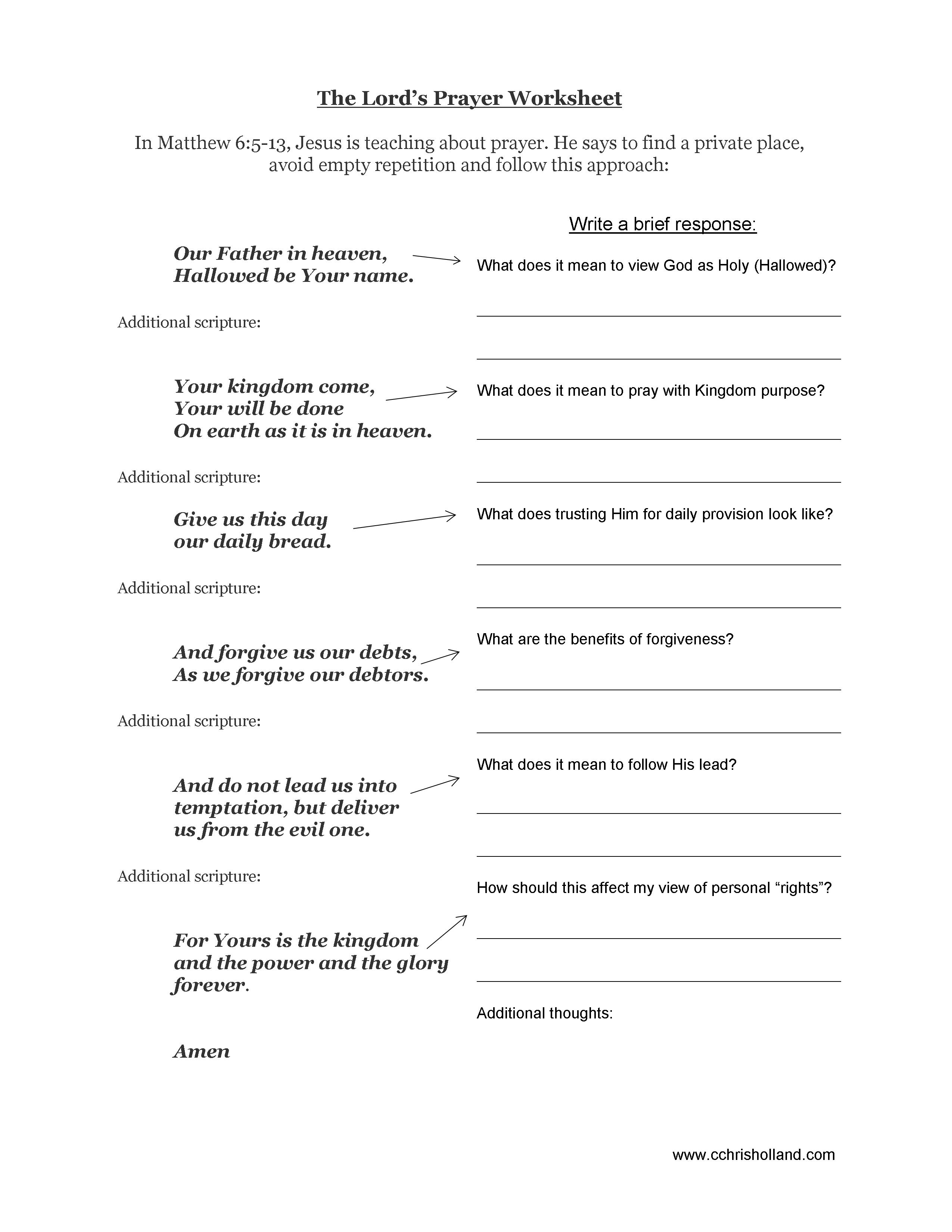 Bible Study Worksheets