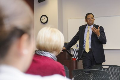 elwyn Vickers, MD, new senior vice president and dean of the University of Alabama School of Medicine, headquartered in Birmingham, visited the College of Community Health Sciences Nov. 8 for a luncheon and meet-and-greet conversation.