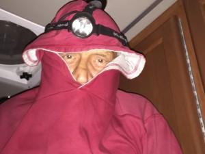 Colin dressed to combat mosquitos