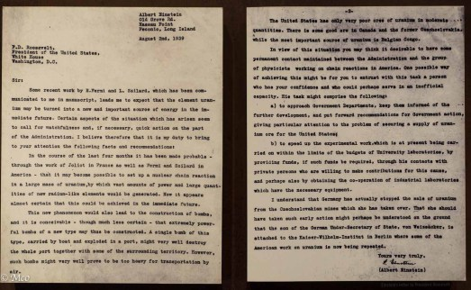 Albert Einsteins warning letter to Franklin D. Roosevelt about nuclear weapons