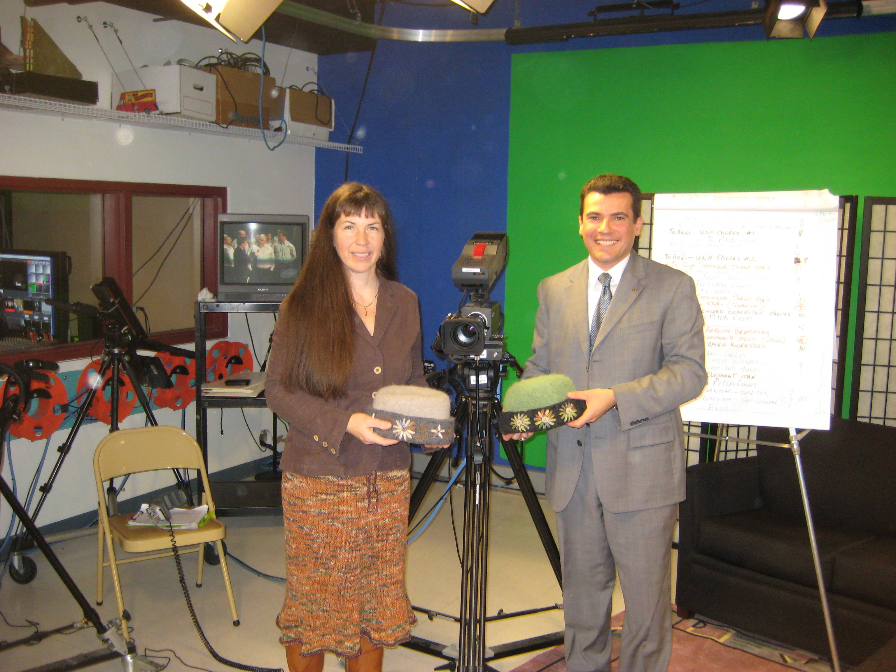 Checking out the camera equipment with Carlos at Concord Television.