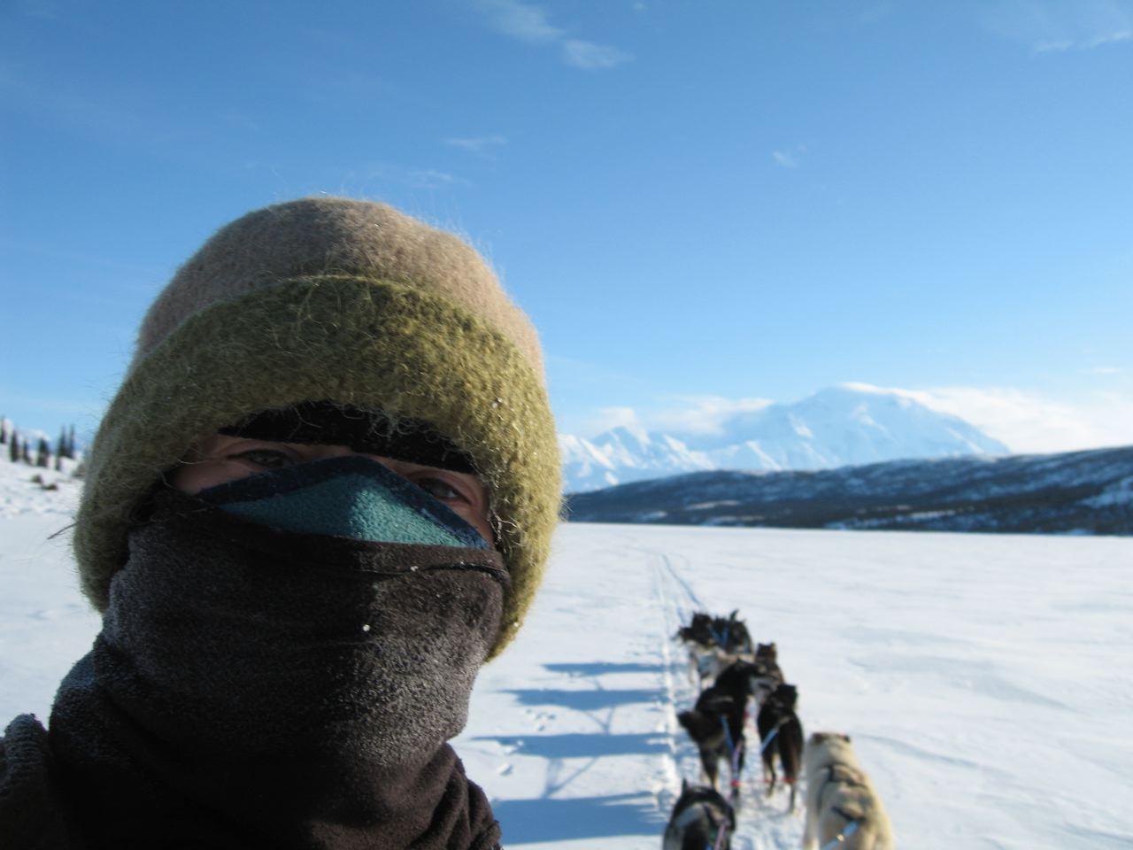 Denali Park Ranger, Carmen Adamyk wears her felt hat on mushing patrol at Wonder Lake, Alaska, March 2008