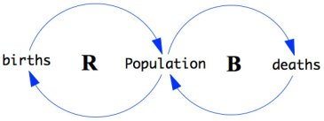 A causal loop with two circular loops drawn each with 2 causal links.  One loop has population written at one arrowhead and births written at the other arrowhead. This loop is specified as a reinforcing feedback loop. The other loop has population written at one arrowhead and deatjs written at the other arrowhead. This loop is specified as a balancing feedback loop.