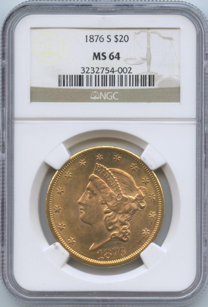 1876-S $20 Libery NGC MS64