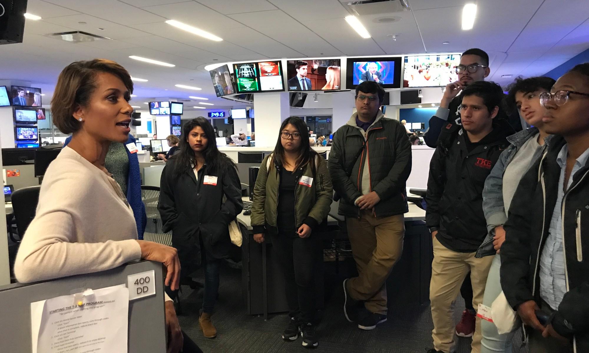 WABC-7 TV Anchor Sade Baderinwa talking to CCNY students
