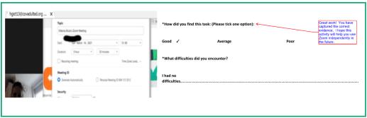 Screenshot of a learner setting up a Zoom meeting