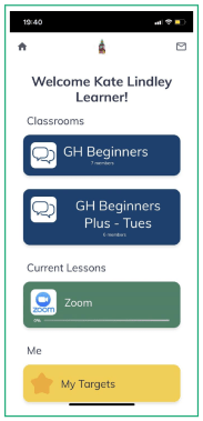 Image showing the learner view on the app
