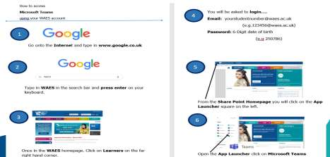 Image showing an induction resource where learners see step by step how to access the MS Teams pages