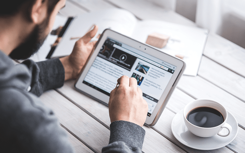 news articles on a tablet