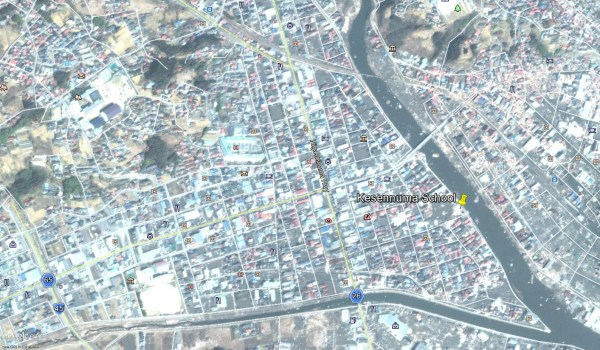 Google Earth satellite picture near the Kesennuma School after the March 11, 2011 Earthquake and tusnami.