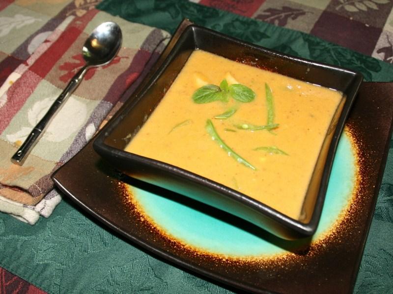 Bowl of Thai sweet potato chowder